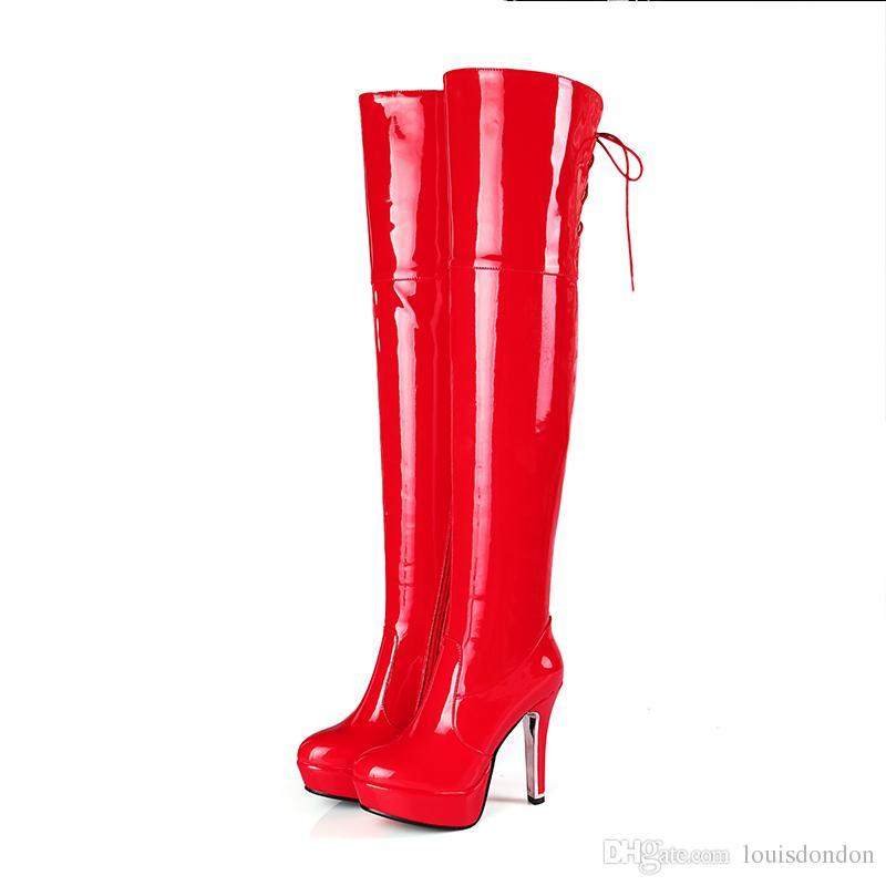 Super Sexy Femmes Shining Rouge et Noir Boîte De Nuit Pôle Danse Fille En Cuir Verni Plate-Forme À Talons Hauts Cuisse Haute Dames Bottes