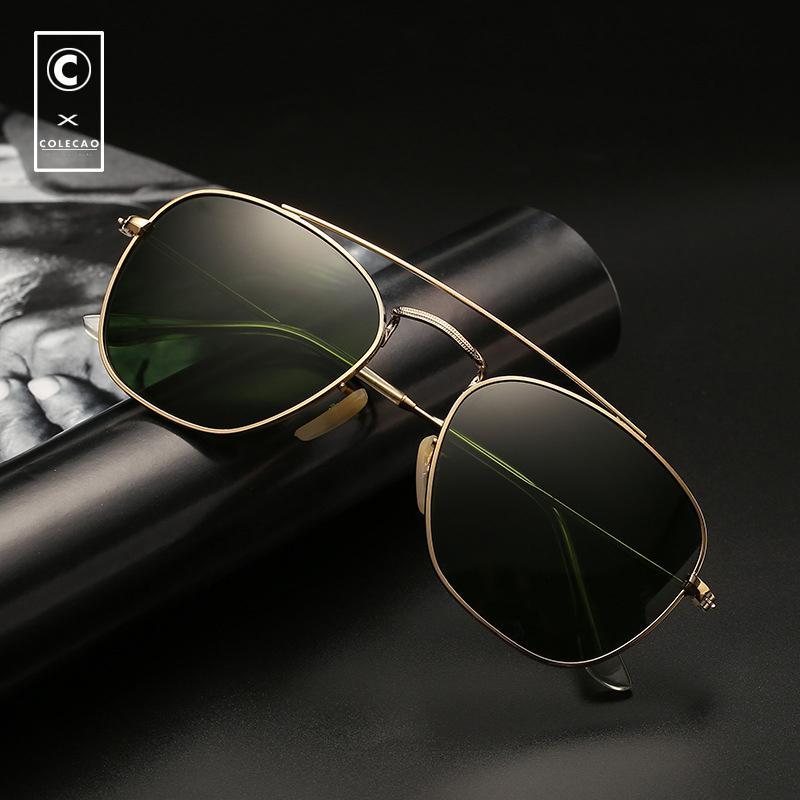69c5329db Compre CCOLECAO Piloto Óculos De Sol Para Homens 2018 Novo Design Da Marca  Clássico Do Vintage Espelho Óculos De Armação De Ouro UV400 Condução Óculos  De ...