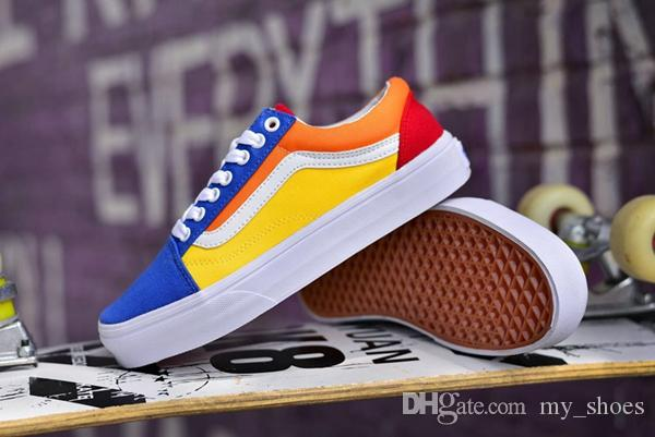 f80f3a5acfbd 2019 2018 Old Skool Rainbow Color Matching Canvas Skate Shoes Men Women New  Hot Fashion Low Casual Running Sneakers Size 36 44 From My shoes