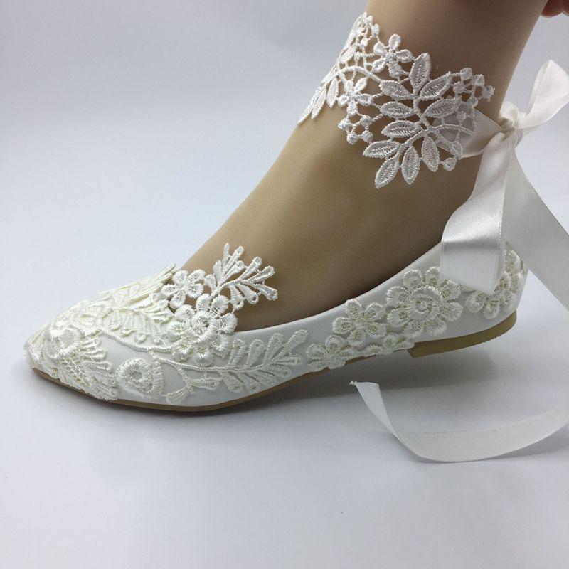 15ff1ef6e749 Handmade Wedding Shoes Waterproof White Bride Wedding Dresses Han Edition  Diamond Lace Manual Wedding BRIDAL FLAT Shoe Female SIZE EU 35 42 Peep Shoes  Peep ...