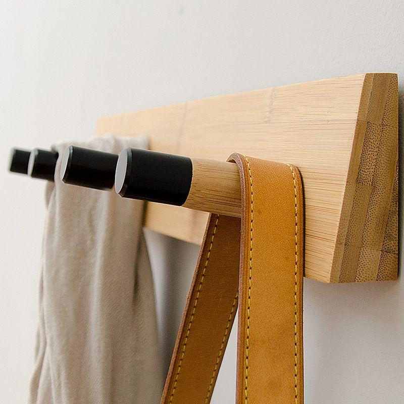 2019 Wood Wall Hook Rack 4 Peg Bamboo Hook Multipurpose Wall