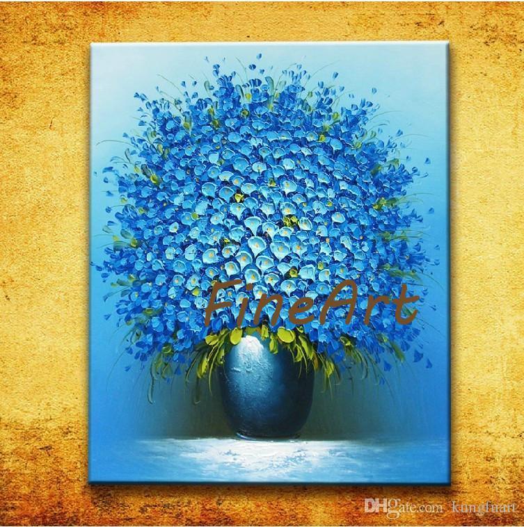 Satın Al El Yapımı Yağlıboya Modern Bıçak Doku Mavi çiçek Yağlıboya