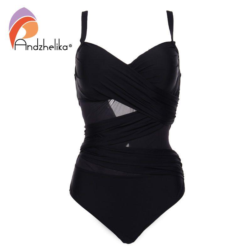 Andzhelika Sexy One Piece Swimsuit Women Summer Beachwear Vintage Mesh Swimwear Bathing Suits Bodysuit Monokini Plus Size