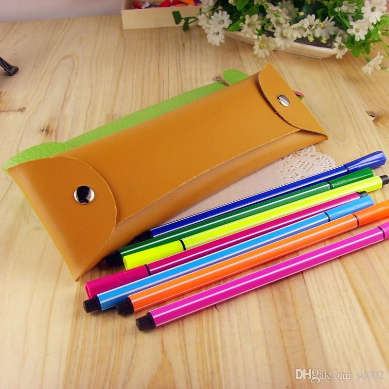 Multi función Bolso de la pluma Rectángulo PU Bolsas de lápices de cuero plegable doble hebilla lápices caja de alta calidad 1 5hb B