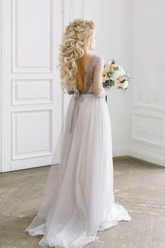 Fairy Toddler Light Grey Boho Wedding Dresses with Long Sleeve 2018 Modest Jewel Backless Country Beach Holiday Bridal Reception Gown