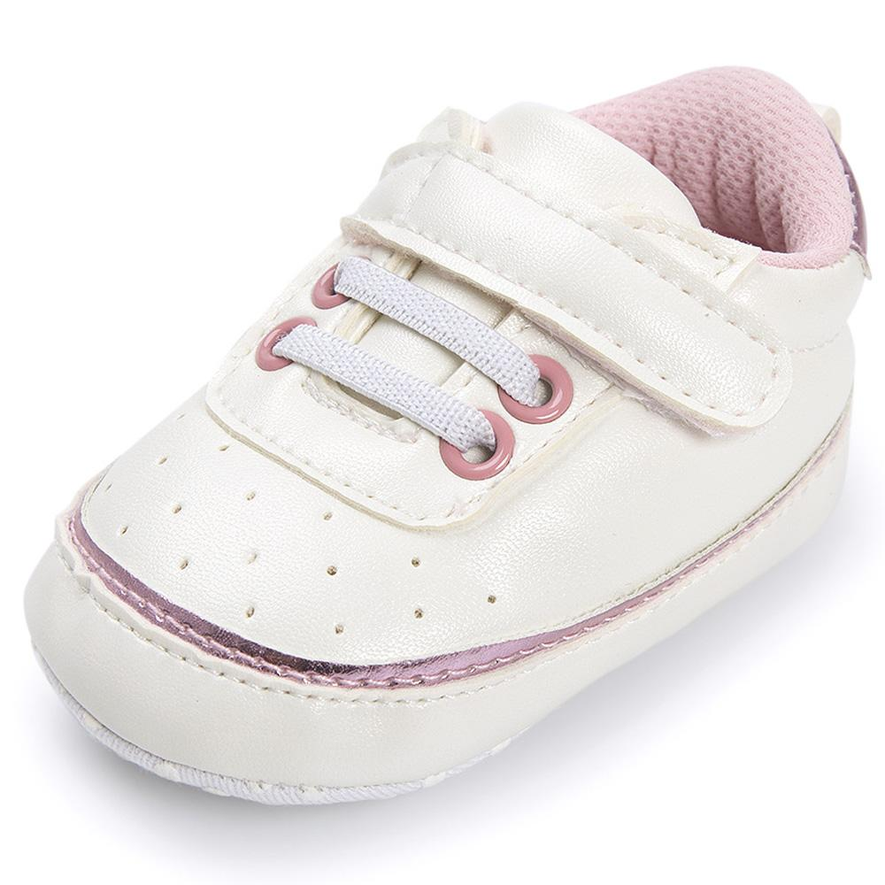 353b22893 2019 Pink Edging White Baby Sneakers Shoes Boy Girl PU Leather Soft Sole  Crib No Slip For First Walkers Infant Toddler Newborn Kids From Vingner, ...