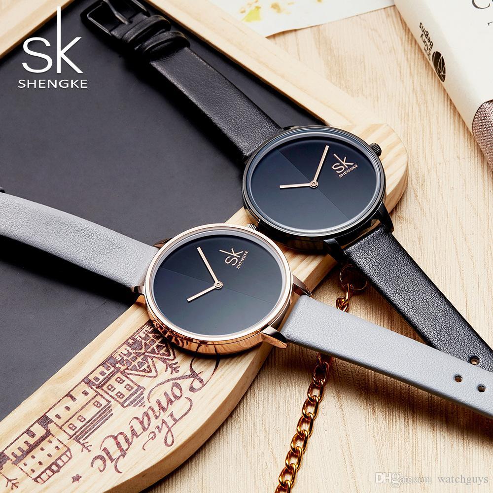 bb2abad09c4 Compre Shengke Mulheres Relógios Top Marca De Luxo 2018 Relógio De Pulso Feminino  Relógio De Couro Senhora De Quartzo Relógio Montre Femme Relogio Feminino  ...