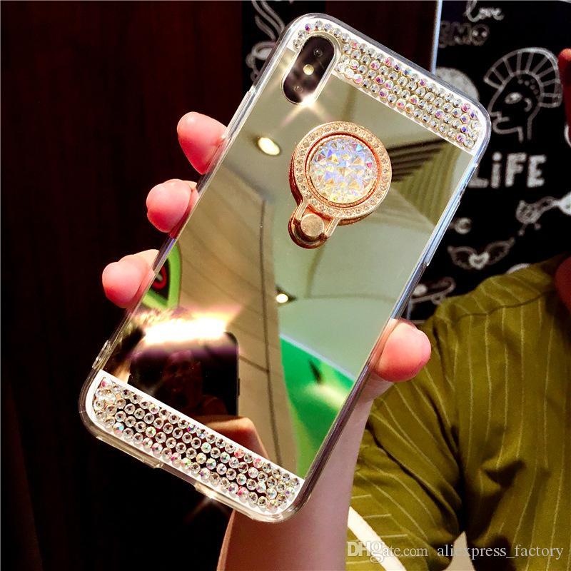 Ручная работа Bling Diamond Crystal Держатель Жесткий чехол Kickstand Зеркальный чехол для Samsung Galaxy S10 E S9 Plus S8 Примечание 10 10+ 9 8 M10 M20 A30 A50