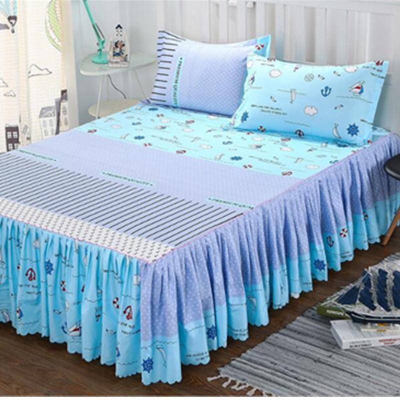 New Style Sanding Thickened Bed Skirt Dual Layers Bed Cover Fitted