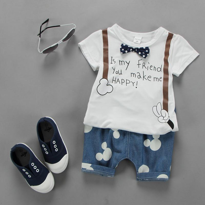 08fd130106858 2018 New Summer Newborn Baby Boy Clothes Cute Bow Tie T Shirt pants Cartoon  Kids Clothing Set Suit7-24M White Roupa Infantil