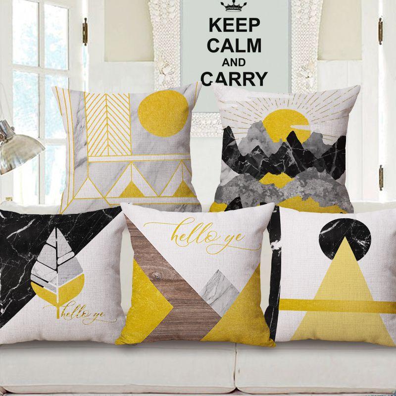 Nordic Style Throw Pillow Cushion Cover Plant Fruit Cactus Geometric Cushion Cover Sofa Lumbar Pillowcase Funda Cojines 45x45cm Candles & Holders