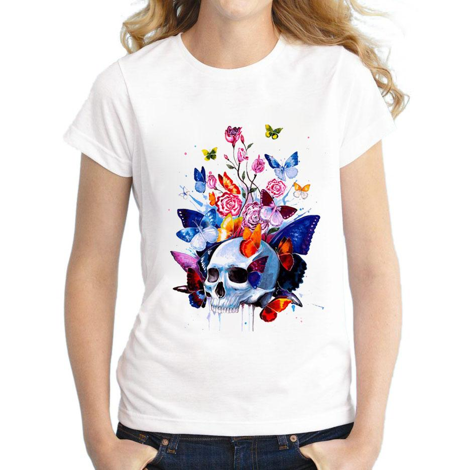 2018 Hipster Cool Skull Head Flower Butterfly T Shirt Summer Fashion ...
