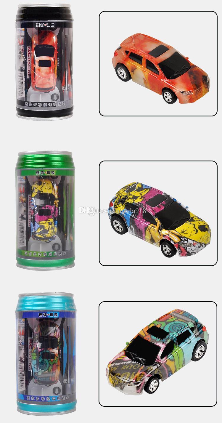 Mini RC Racing Car 1:64 Coke con cremallera Pop-top puede 4CH Radio Remote Control Vehicle LED luz es Juguetes para niños EMS C4291