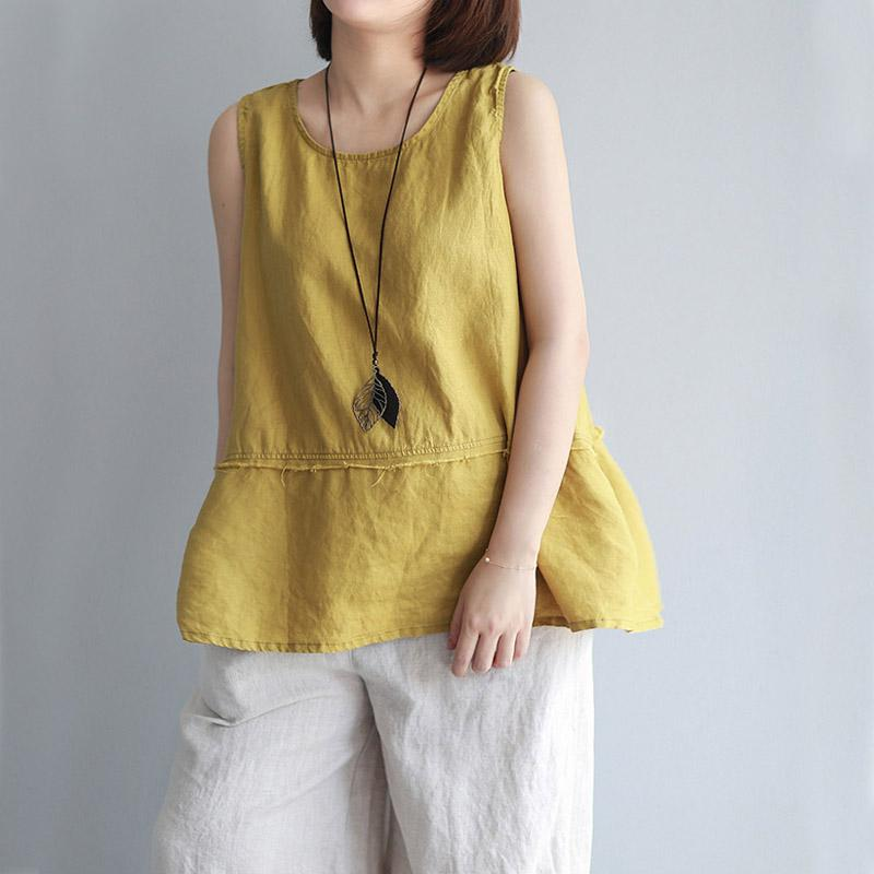 a2f4c257a19 2019 Nefeilike Women Tanks Sleeveless O Neck Summer Shirt New Solid Casual  Cotton Linen Vintage Women Clothes Vest Top From Jellwaygood