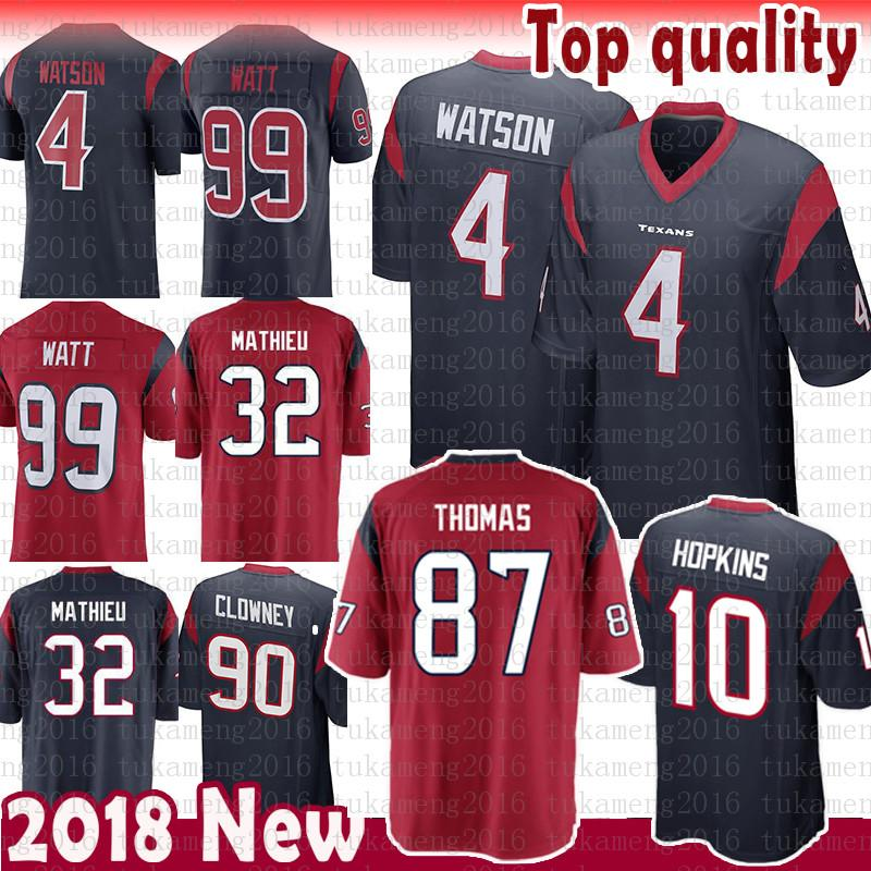 hot sale online 7ae3f e08bc 87 Demaryius Thomas Houston Texans Jersey 4 Deshaun Watson 99 J.J. Watt 10  DeAndre Hopkins 32 Tyrann Mathieu 90 Jadeveon Clowney Jerseys