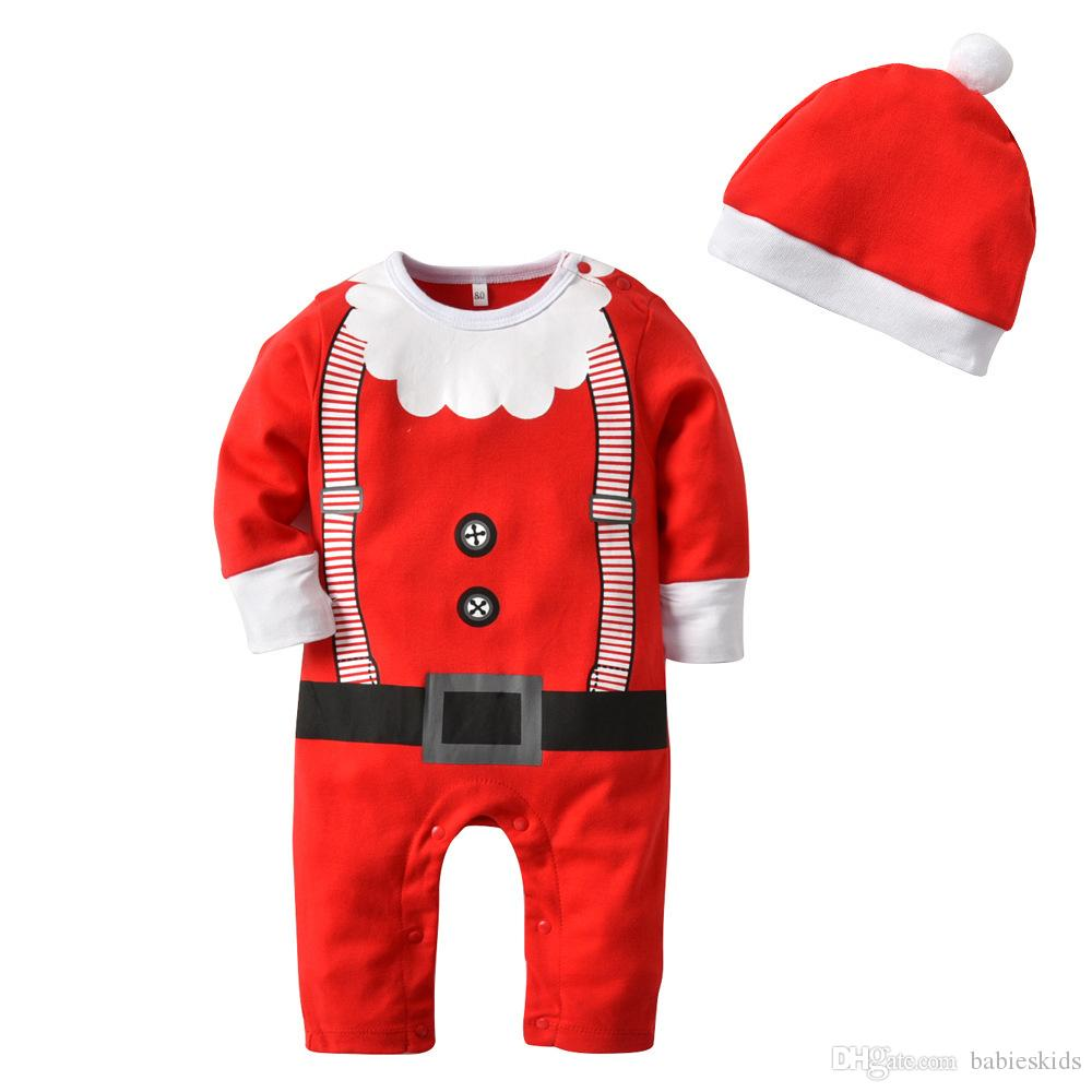 cdb5a6005202 2019 Cute Baby Kids Christmas Rompers With Hat Red Long Sleeve Toddler  Clothing Set For Girls Boy Christmas One Piece Jumpsuit From Babieskids