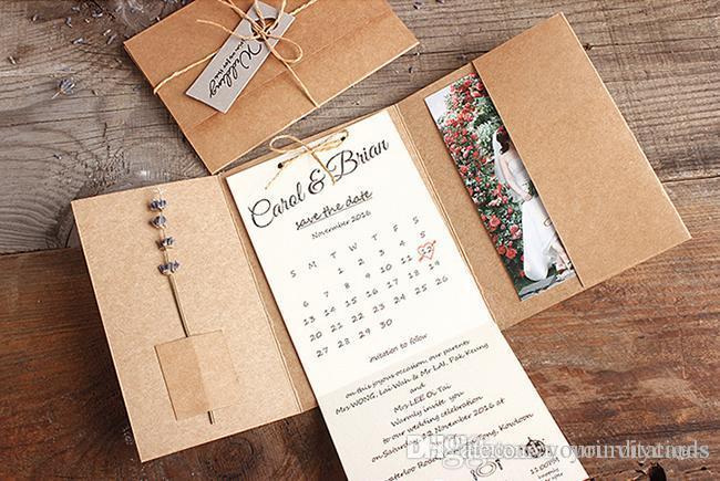 Grosshandel Neue Taschenfalteneinladung Rustikale Hochzeitskarten
