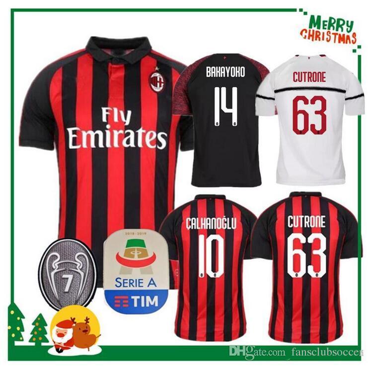 SIZE S XXL 2018 2019 Milan Jersey 18 19 HIGUAIN CALHANOGLU GOMEZ Football  Jerseys CUTRONE BONAVENTURA Soccer Shirts UK 2019 From Fansclubsoccer 584d1e71d5a39