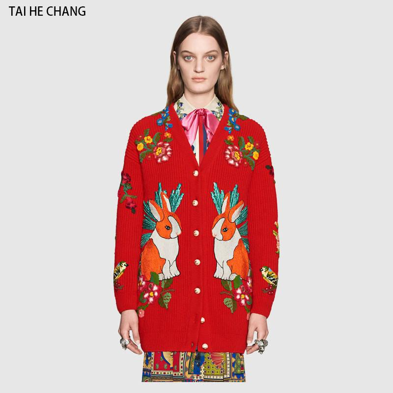 Women Tiger Floral Embroidery Sweaters 2018 Fashion Designer Autumn