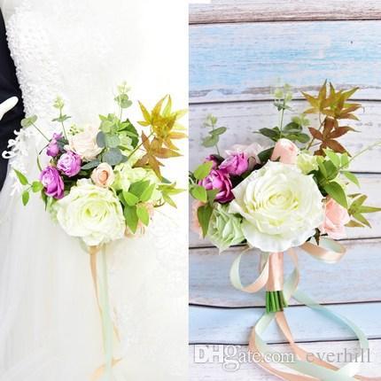 JaneVini 2018 Artificial Bridal Bridesmaid Bouquets Groom Flower Diameter 20cm Champagne Flower Girl Bouquets Brooch Bruidsboeket Roze