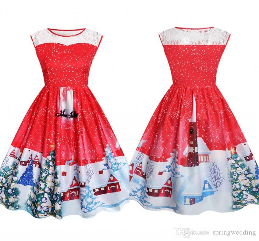 1efe16cebf Women New Christmas Party Dress Women Lace Printed Sleeveless Swing ...