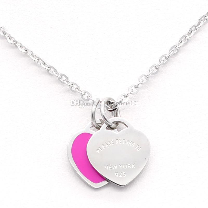 3 estilos Collar de aretes de acero inoxidable 316L con doble corazón Por favor, regrese a Nueva York 925 Cartas Collar Conjunto de joyas de boda para mujeres