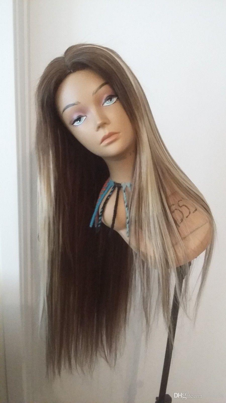 Drag Queen Mix Color Straight Center Part Wig