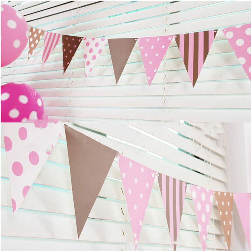 3m 12 Flag Blue/Pink Paper Board Garland Banner For Baby Shower Birthday Party Decoration Kids Room Decoration Garland Bunting