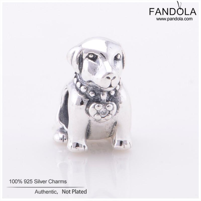 2018 Authentic 925 Sterling Silver Beads Labrador Dog Animal Clear