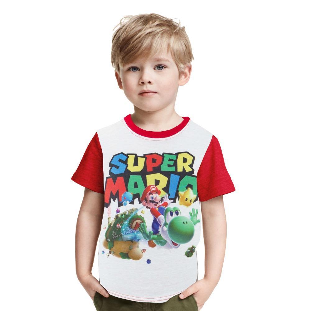 13a4f9cca320 Children Super Mario Printing Clothes Boy Girl Cartoon Mario Brother ...