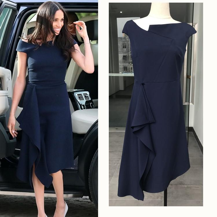 86f3563479 European Harry Princess Megan Chic Slim Dress Off Shoulder Women Sexy Brief Dark  Blue Irregular Midi Dress Elegant White Summer Lace Dress Dresses For ...