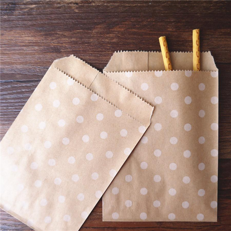 2019 15CM*10CM Polka Dot Kraft Craft Paper Popcorn DIY Bag