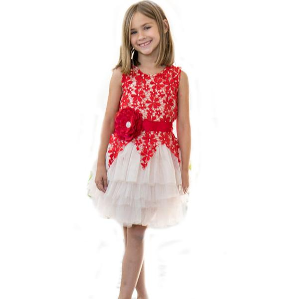 Nice Red Lace Sleeveless Girl Dress Jewel Neck Knee Length Layers