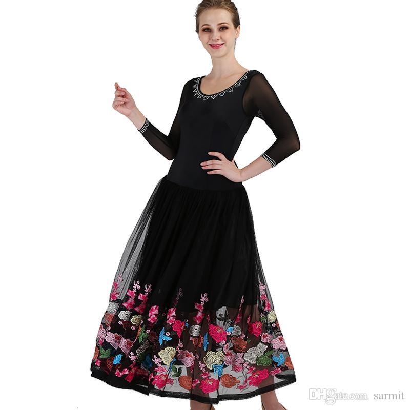 f4e66f539 2019 2018 Customized Ballroom Dance Competition Dresses Standard Dance  Dresses Ballroom Dress D0449 Embroidered Flowers Rhinestones Big Hem From  Sarmit, ...