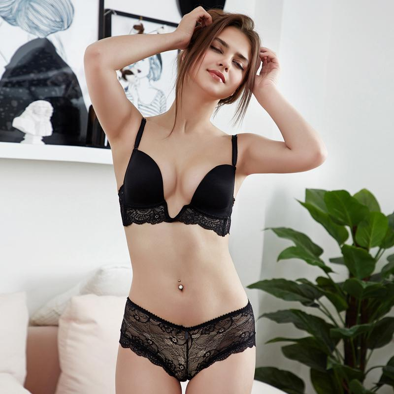 eeb3f7c88ab 2019 Deep Plunge Bra And Panty Set Lace Trim Sexy Solid Lingerie Wire Free  Thin Padded Underwear Women Bra Set Convertible Straps From Afanticlothes