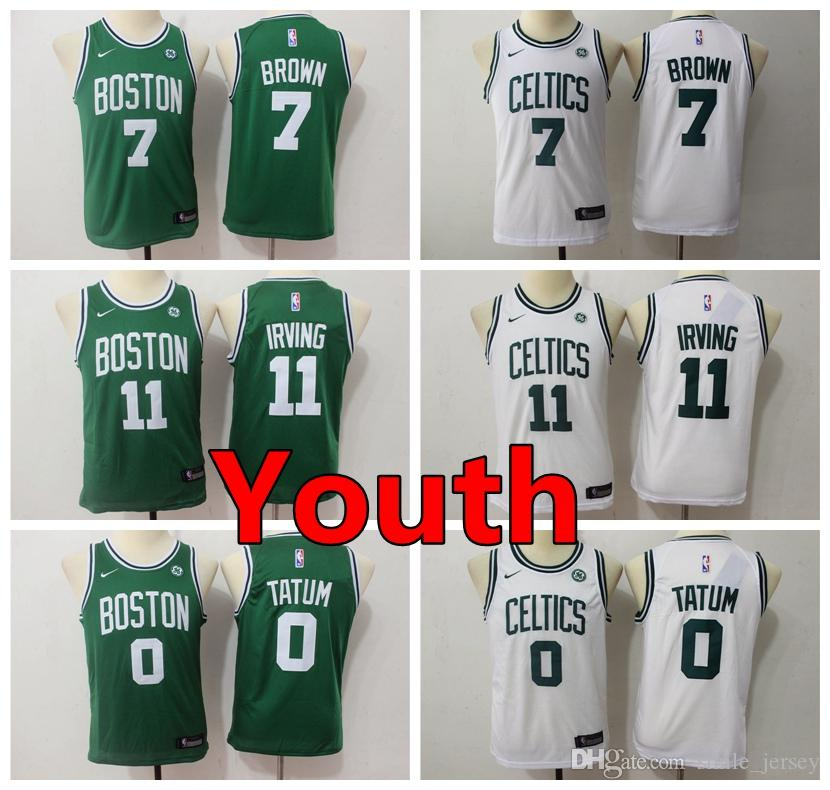quite nice ca837 f508f New Youth 11 Kyrie Irving Boston Jersey Celtics Kids Basketball Jersey  Stitched Celtics 7 Jaylen Brown 0 Jayson Tatum Boys Basketball Jersey