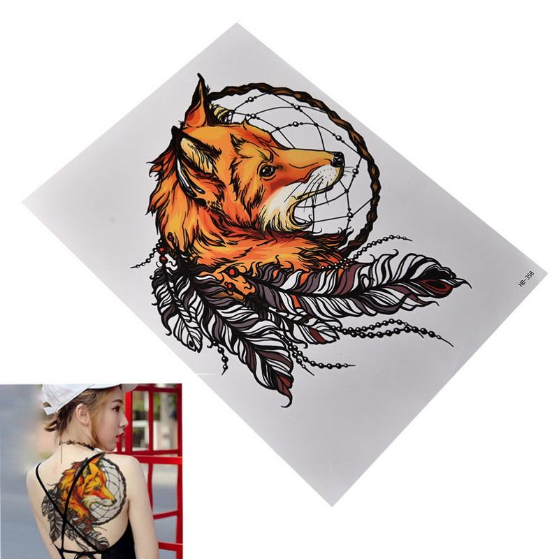 hot sale Black Wolf with Feather Dreamcatcher Cat owl Cool Beauty arm big Tatoo Waterproof Temporary Tattoo Stickers 21*15cm