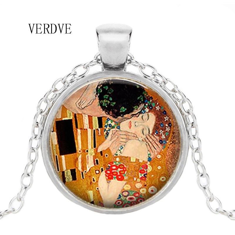 Wholesale VERDVE Brand Necklace By Gustav Klimt Kisses Klimt Art Jewelry Romantic Valentine's Day Gift Lover Gift Long Pendant Necklaces Pearl Pendant ...