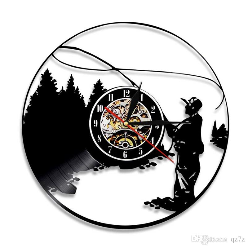 Fishing Vintage Vinyl Wall Clock Simple Modern Home Decor Crafts