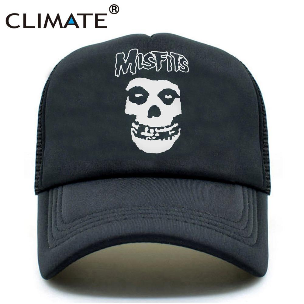 9af9c734bf0ee CLIMATE The Misfits Band Skulls Summer Cool Mesh Caps The Misfits Punk  Metal Rock Cool Summer Baseball Mesh Net Trucker Caps Millinery Richardson  Hats From ...