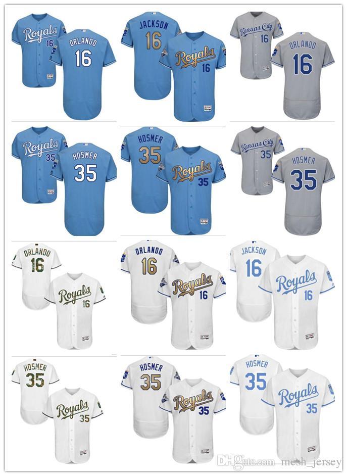 lowest price efa3f 1a7cd custom Men women youth KC Royals Jersey #16 Paulo Orlando 16 Bo Jackson 35  Eric Hosmer Home Blue White Grey Baseball Jerseys