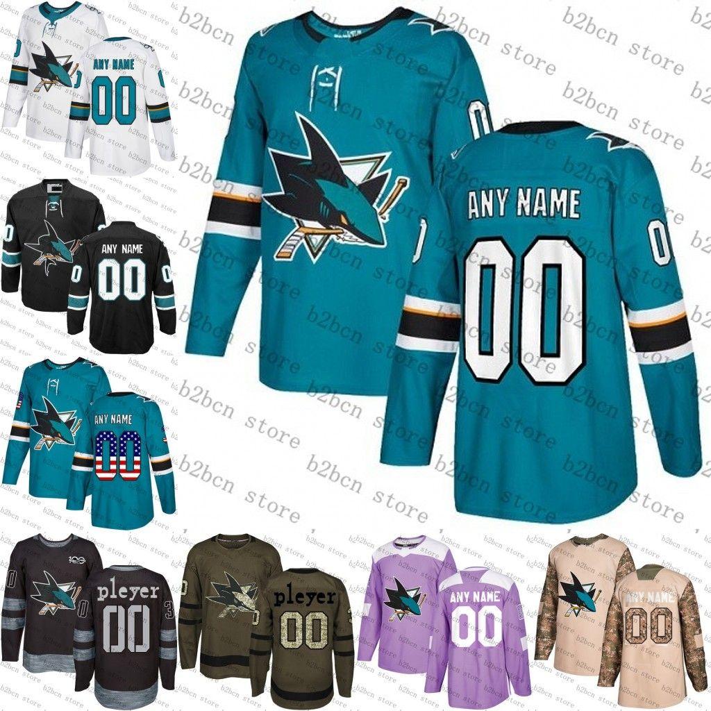 new styles 64e45 c5cef 2019 new Black Custom San Jose Sharks mens womens youth Teal Green Black  camo flat usa Personalized ice Hockey Jerseys Stitched S-3XL