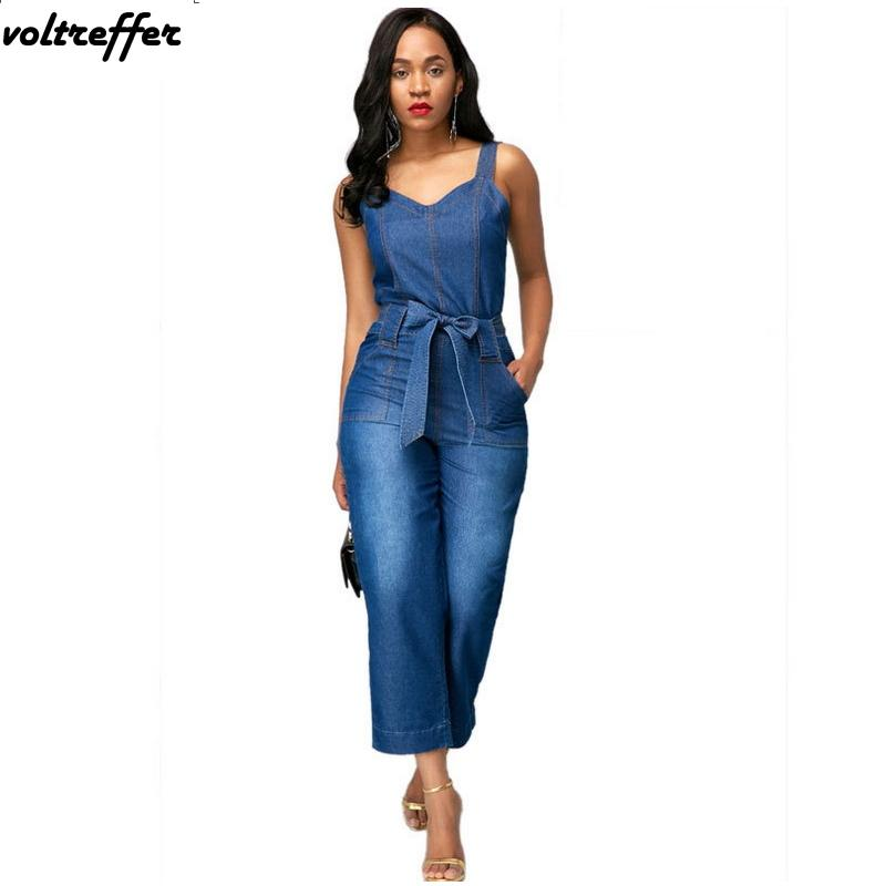 a40b3aa13 2019 2018 Summer Denim Jumpsuit For Women Backless Harem Rompers Flare  Pants With Sashes Macacao Feminino Sexy Wide Leg Jeans Overall From Avive,  ...