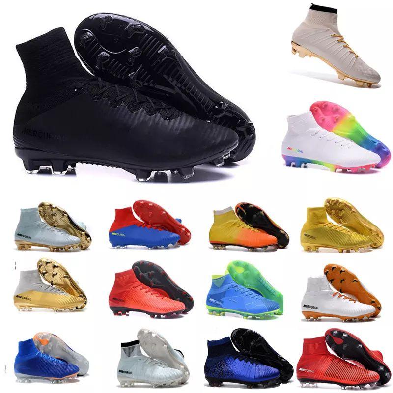 34dcdfc22b92 2019 Mens Mercurial Superfly CR7 V AG FG Football Boots Ronaldo High Ankle  Magista Obra II ACC Soccer Shoes Neymar JR Phantom IC TF Soccer Cleats From  ...