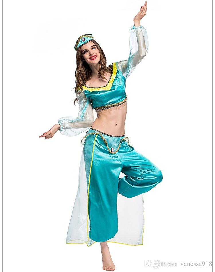 Adult Holloween Party Princess Jasmine Dress Carnival Cosplay Princess Jasmine Costumes For Women Clothes Movie Game Anime Role Ps065 Black And White ...  sc 1 st  DHgate.com & Adult Holloween Party Princess Jasmine Dress Carnival Cosplay ...
