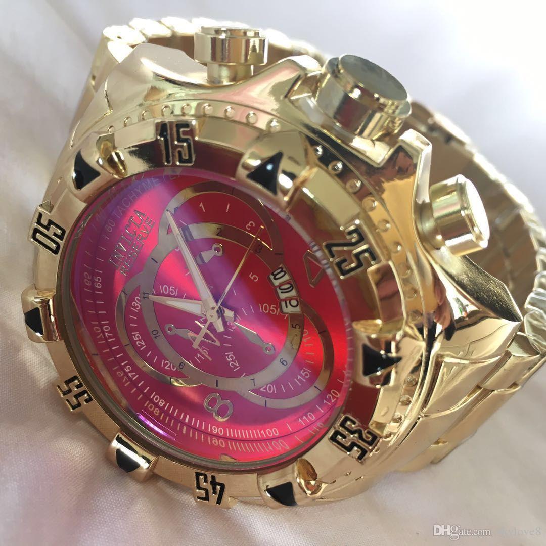 f363142d16a Compre NOVA Marca De Luxo INVICTA Calendário Relógio Dos Homens De Negócios  Casuais Esportes Relógio De Quartzo Brasil Hot Grande Mostrador Do Relógio  De ...