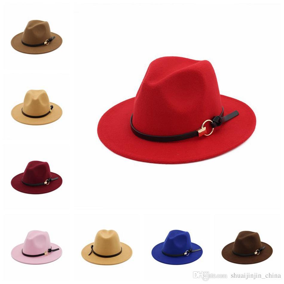 Women Winter Wool Belt Fedora Cap Wide Brim Cowboy Hat Panama Hat Trilby Cap  Belt Buckle Band Hats OOA4062 Sun Hat Hats For Men From Shuaijinjin china d6f5fb97134