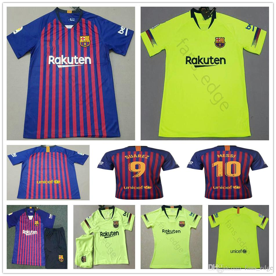 dacccd5ec816 Купить Оптом 2018 2019 Барселона Messi 10 Джерси Футбол Suarez 9 Dembele 11  Coutinho 7 Pique Custom Home Away Футбольная Рубашка Camiseta De Futbol ...