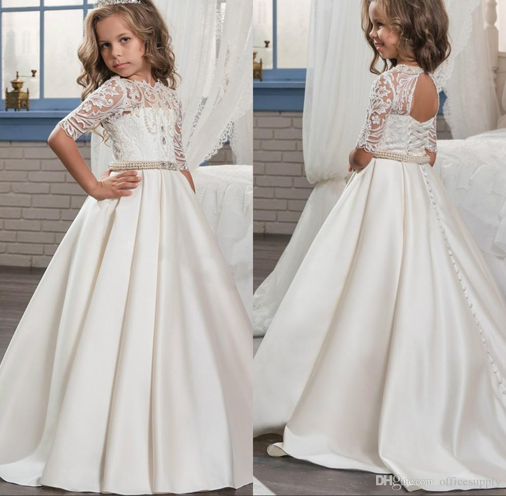 2018 princess white lace flower girl dresses new sheer long sleeves 2018 princess white lace flower girl dresses new sheer long sleeves first communion birthday party dresses girls pageant dress for weddings beautiful mightylinksfo