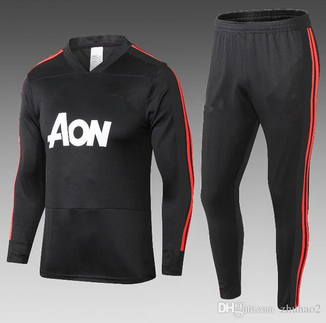 competitive price b8184 6c2dd 2018 Football tracksuit training kits 18 /19 LUKAKU POGBA united training  suit Sportsweater Man Utd uniforms sportswear black colors